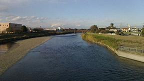 五行川堤下ウォーキングコース(子育て支援センター~高畦橋)